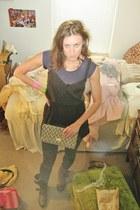 brown Dolce Vita boots - dark gray plaid Ralph Lauren tights - blue H&M bag