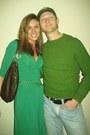 Green-vintage-bcbgmaxazria-dress-tan-straw-h-m-bag-nude-steve-madden-pumps