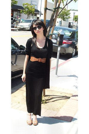 black H&M sunglasses - black Forever21 top - black maxi skirt Forever 21 skirt