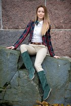 navy H&M blazer - dark green green boots united colors of benetton boots