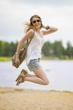 teal denim shorts H&M shorts