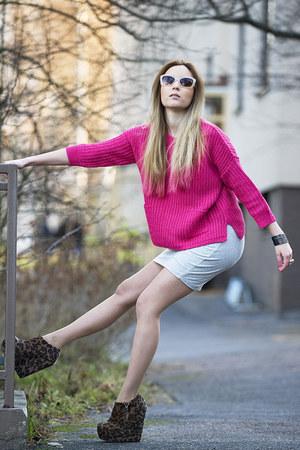 GINA TRICOT sweater - grey mini skirt seppl skirt