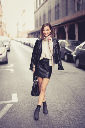 mini skirt H&M skirt - ankle boots H&M boots - leather biker Mango jacket