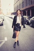 mini skirt H&M skirt - ankle boots H&M boots - leather biker Mango jacket