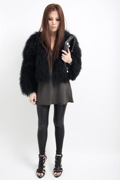 black Topshop coat - black American Apparel tights - black balenciaga bag - char