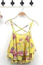 *free ship* floral print sleeveless blouse tank top SV003758 - yellow