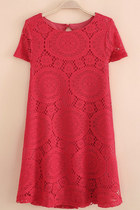 Boho chic Summer red lace loose dress hippie cute A SV000069