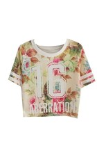 *free ship* harajuku floral + number 16 print crop top - 1695614602
