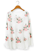 *free ship* wild roses ripped sweater - white - 1510806574