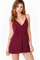 Wine red chiffon deep n neck strap jumpsuits hollow out backless pants