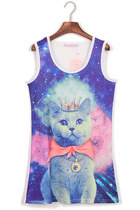 *free ship* cat print kawaii harajuku long tank top - white - 571356512