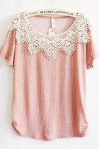 loose fit dot pattern lace t shirt - kawaii pink - 1892589609