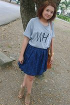 gray dry clean only t-shirt - blue I MADE IT skirt - orange Paa purse - beige CC