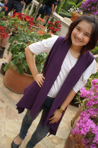 white Bahn blouse - purple random from Bangkok vest - gray CPS Chaps jeans - bla