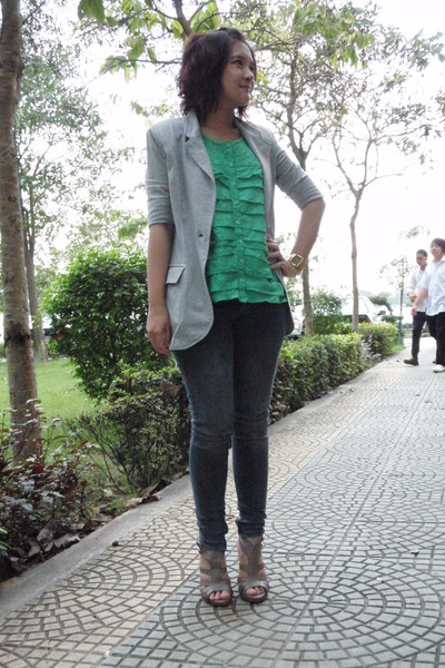 gray F&F blazer - green CC-OO blouse - black CPS Chaps jeans - gray CPS Chaps sh