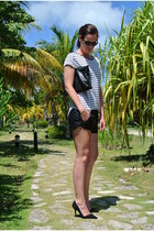 black stripes Zara shirt - black leather Zara shorts