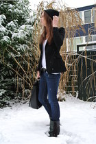 black Maison Martin Margiela H&M jacket - navy denim Fornarina jeans