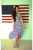navy striped Forever 21 dress - tan nude Payless flats