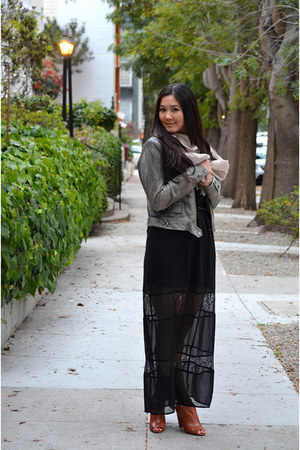 leather moto Bebe jacket - lace maxi 1802 dress - fringed Max Mara scarf