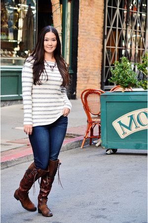 navy skinny Paige jeans - dark brown riding freebird boots - striped sweater