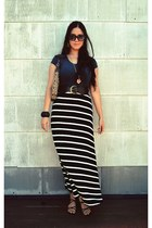 black striped maxi Forever 21 skirt - brown coach bag - black firmoo sunglasses