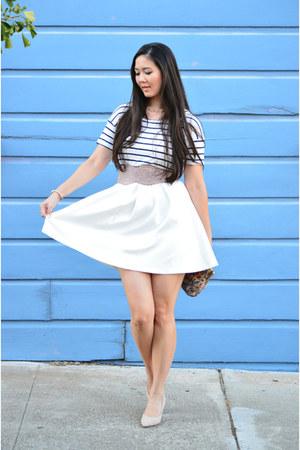 navy striped Zara top - white skater Forever 21 dress