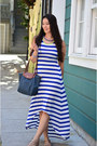Blue-forever-21-dress-navy-tote-longchamp-purse-tan-loft-sandals