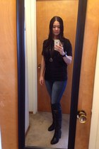 black Deichmann boots - navy Forever 21 pants - black Zara top