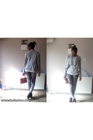 salmon new look bag - heather gray Wallis leggings - silver red herring blazer