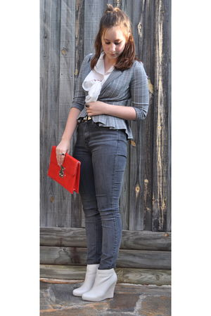 white shirt - gray BDG jeans - white Report shoes - red Sachi bag - gray blazer