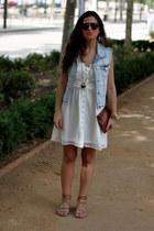 Zara vest - pull&bear dress - vintage sunglasses - Zara flats