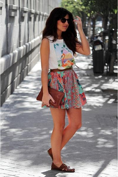 Bershka skirt - Bimba & Lola bag - pull&bear sunglasses - Topshop flats