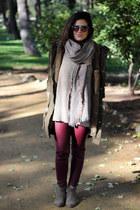 dark khaki Zara scarf - dark khaki Mango boots - olive green pull&bear coat