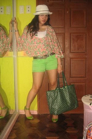 pink Topshop top - green Zara shorts - green kate spade shoes - green goyard pur