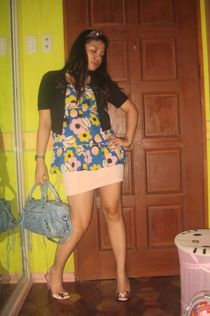 blue Topshop blouse - blue balenciaga purse - pink Topshop skirt - pink Questina