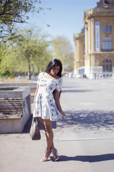 periwinkle jersey H&M dress - tan tote Mango bag - neutral strappy asos pumps