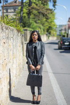dark gray denim Only jeans - black casual chic Hermes bag