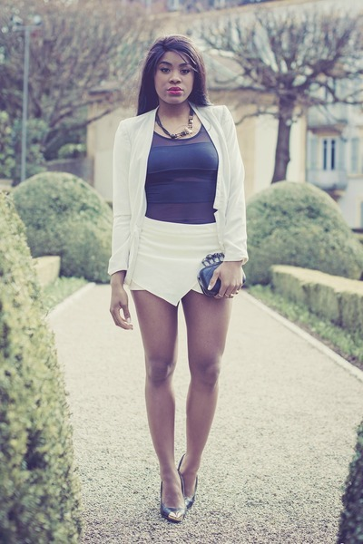 white Mango blazer - dark gray zooshoocom bag - off white romwe shorts