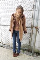 brown Wallflower Vintage coat - blue Forever 21 jeans - brown Nine West boots -