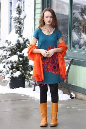 The Dress Shop dress - Vintage Frey boots - The Dress Shop scarf