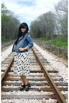 white asos skirt - blue Old Navy jacket - black Lucky Brand sandals