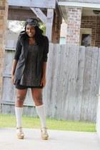 black blazer - Urban Outfitters dress - white Forever 21 socks