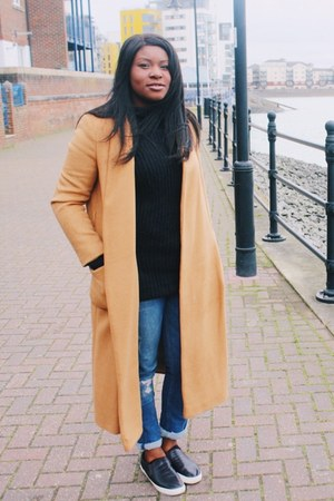 tan Topshop coat - blue River Island jeans - black TK Maxx sweater