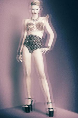 black heels - panties - nude vintage bra