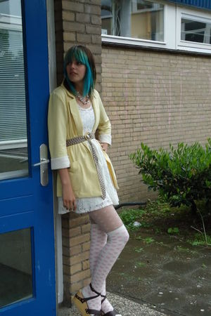 yellow new look jacket - pink River Island socks - white Primark tights - white