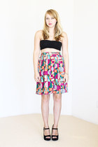 vintage skirt - black platforms shoes - black bandeau American Apparel top