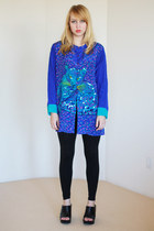 blue slouch printed vintage blouse