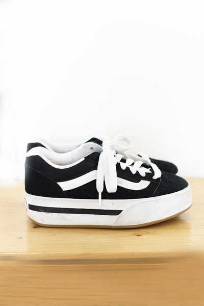 black platform canvas Vintage Vans sneakers