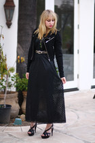 black Vintage by We Move Vintage dress - black H&M jacket - silver vintage belt