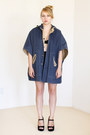 Blue-vintage-cape-black-mini-form-fit-urban-outfitters-skirt